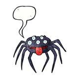 grobe Halloween-Spinne der Karikatur mit Spracheblase Lizenzfreies Stockbild