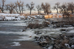 grobelnej dywersi scenerii rzeczna zima Fotografia Stock