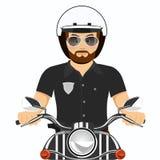 Grober bärtiger Polizeibeamte, der ein Motorrad reitet lizenzfreie abbildung