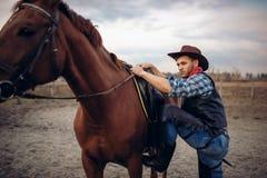 Grober Cowboy klettert zu Pferd auf Texas-Ranch stockfotos