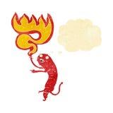 grobes kleines Monster der Karikatur mit Gedankenblase Lizenzfreies Stockfoto