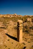 Grobowa kamień aka Kulpytas przy cmentarzem Mizdakhan, Khodjeyli, Karakalpakstan, Uzbekistan Obraz Royalty Free