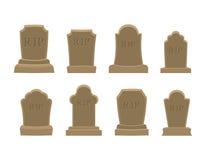 Grobowa set Antyczny rozprucie Kolekcja gravestones Grób kamień dalej Zdjęcie Royalty Free
