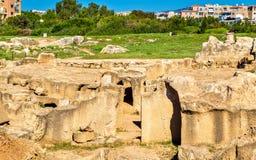 Grobowowie królewiątka, antyczny necropolis w Paphos obraz royalty free