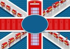 Großbritannien-Flagge mit Doppeldecker und Telefonzelle Lizenzfreie Stockfotos