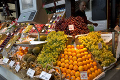Grocer fruit stand - Mercado de San Miguel, Madrid Stock Image