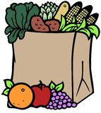 Groceries. Fruits and vegetables in a recyclable brown paper bag Stock Image