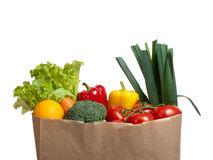 Groceries. Paper bag full of groceries Stock Image