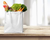 Groceries. Bag Paper Bag Environment reusable Food Textile Royalty Free Stock Photo