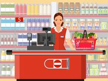 Groceries cashier at work. Female checkout cashier with foods against shelves with goods. vector illustration in flat style Royalty Free Stock Image