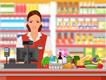 Groceries cashier at work. Female checkout cashier with foods against shelves with goods. vector illustration in flat style Royalty Free Stock Images