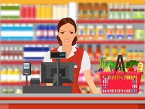 Groceries cashier at work. Female checkout cashier with foods against shelves with goods. vector illustration in flat style Stock Photo