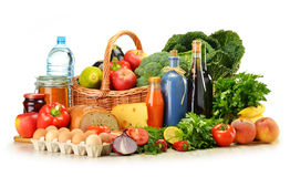 Groceries including vegetables and fruits Royalty Free Stock Photos