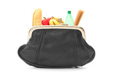 Groceries inside a purse Stock Photography