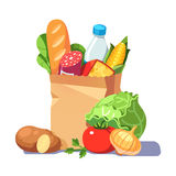 Groceries in a paper bag Royalty Free Stock Images