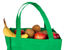 Groceries in Reusable Green Bag Stock Image