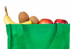 Groceries in Reusable Green Bag Stock Photos