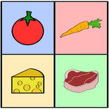 Groceries squares. Cartoon illustration showing colorful squares with different grocery items vector illustration