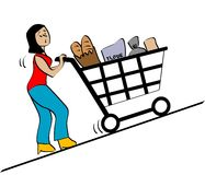 Grocery. Illustration a lady pushing grocery cart Royalty Free Stock Photos