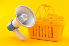 Grocery background with megaphone. In orange color. 3d illustration Stock Photos
