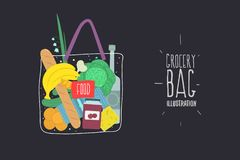 Grocery bag. Food. stock illustration