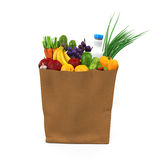 Grocery Bag with Food. Isolated on white background. 3D render Stock Image