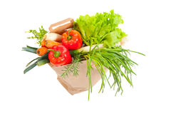 Grocery bag full of fresh vegetables Stock Photography