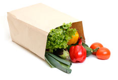 Grocery bag full of vegetables Stock Images