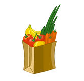 Grocery bag isolated on white background. Cartoon  illustration. Fruits and vegetables: bananas, lemon, carrots, tomato Stock Photography
