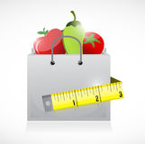 Grocery bag and measure tape illustration Royalty Free Stock Photography