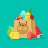 Grocery bag vector illustration , paper packet of groceries Royalty Free Stock Photos