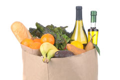 Grocery Bag Vegetables and Fruit and Wine Stock Image