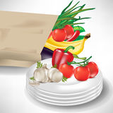Grocery bag with vegetables and plates Royalty Free Stock Images