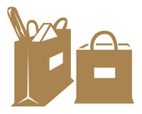 Grocery bags. Brown grocery bags symbol on white background Royalty Free Stock Images