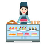 Grocery or bakery salesperson with cake. Stock Images