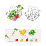 Grocery Basket. Illustration of a basket full of groceries Royalty Free Stock Images