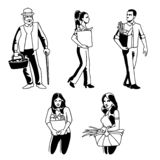 Grocery buyers man, woman, old man characters set in vector royalty free illustration