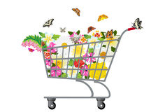 Grocery cart with flowers Stock Photo
