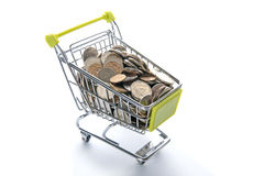 Grocery cart full of Russian coins. Royalty Free Stock Images