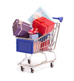 Grocery cart with gift boxes isolated Stock Photography