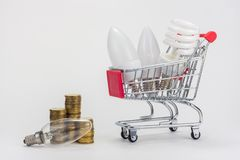 In the grocery cart are LED and energy-saving light bulbs, near the incandescent lamp and stacks of coins royalty free stock image