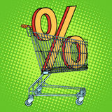 Grocery cart percentage discount Royalty Free Stock Photos