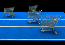 Grocery Cart Race. Four Grocery carts lined up for a race Stock Photos
