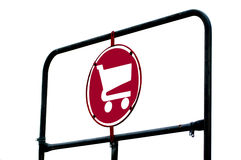 Grocery Cart Sign on Rack Stock Photo