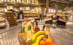Grocery cart in supermarket. Filled with food products seen from the customers point of view stock photography