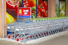 Grocery carts of the Lidl discount supermarket store, Netherlands Stock Image
