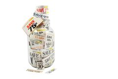 Grocery Coupons In A Glass Jar Stock Image