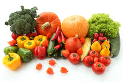 Grocery display. Colorful autumn veggies on isolated white background Royalty Free Stock Photos
