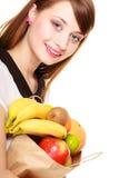 grocery Dziewczyny mienia papieru torba na zakupy z owoc obrazy stock