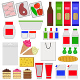 Grocery flat icons. Food in the package. Vector illustration royalty free illustration